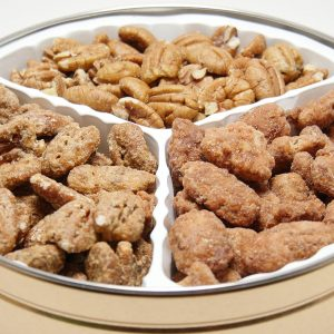 holiday tin assorted pecans honey cinnamon roasted pecans praline crunch pecans