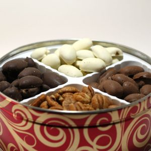 holiday tin chocolate pecans