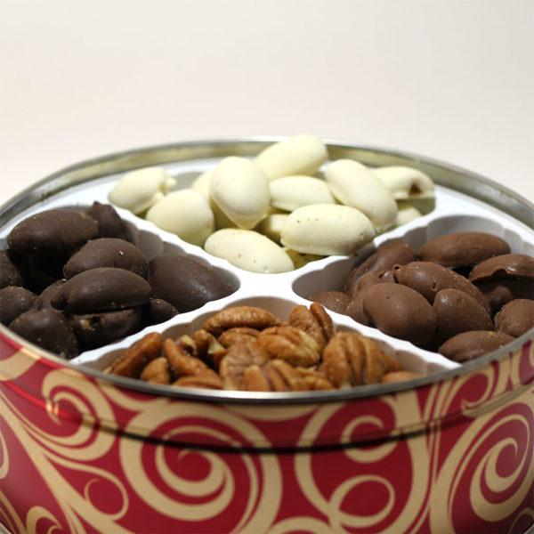holiday tin chocolate pecans